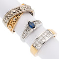 Estate Jewelry:Rings, Diamond, Sapphire, Gold Rings. ... (Total: 3 Items)