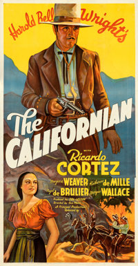 """The Californian (20th Century Fox, 1937). Fine/Very Fine on Linen. Three Sheet (41"""" X 79.25""""). From the Mike K..."""