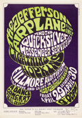 Music Memorabilia:Posters, BG-4 Jefferson Airplane 1966 Fillmore Auditorium Concert Poster Signed by Wes Wilson....