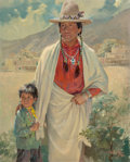 Paintings, Frederic Kimball Mizen (American, 1888-1964). Chief Red Dancer and Grandson, 1953. Oil on canvas. 32 x 26 inches (81.3 x...