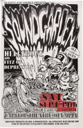"Music Memorabilia:Posters, Soundgarden 11"" x 17"" Capitol Theatre Hand-Colored Concert Poster (1991)...."