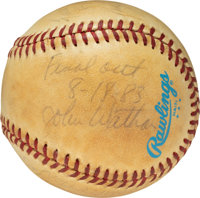 1983 George Brett Pine Tar Game Completion Last Out Baseball, Signed by Royals Battery