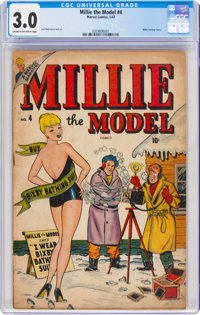 Millie the Model #4 (Atlas/Marvel, 1947) CGC GD/VG 3.0 Cream to off-white pages