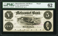 Fall River, MA- Metacomet Bank $5 Nov. 15, 1853 G8 Proof PMG Uncirculated 62