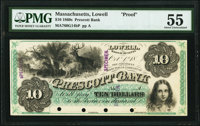 Lowell, MA- Prescott Bank $10 Oct. 1, 18__ G14b Face and Back Proofs PMG About Uncirculated 55