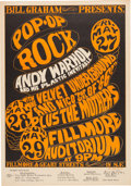 Music Memorabilia:Posters, BG-8 Andy Warhol / Velvet Underground 1966 Fillmore Auditorium Concert Poster Signed by Wes Wilson....