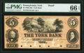 York, PA- York Bank $5 18__ as G88 as Hoober 468-12 Proof PMG Gem Uncirculated 66 EPQ