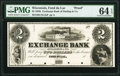 Fond du Lac, WI- Exchange Bank of Darling & Co. $2 18__ as G4a as Krause G4a Proof PMG Choice Uncirculated 64 EPQ...