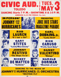Music Memorabilia:Posters, Johnny & The Hurricanes + Many Others 1960 Toledo, OH Concert Poster. ...