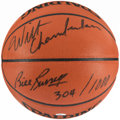 Autographs:Others, Wilt Chamberlain & Bill Russell Signed Basketball....