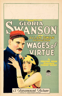 """Wages of Virtue (Paramount, 1924). Very Fine-. Window Card (14"""" X 22"""")"""