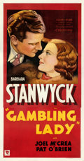 "Movie Posters:Drama, Gambling Lady (Warner Bros., 1934). Fine+ on Linen. Three Sheet (41.25"" X 79.5""). From the Mike Kaplan Collection...."