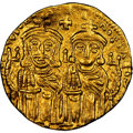 Ancients:Byzantine, Ancients: Leo IV the Khazar (AD 775-780), with Constantine VI, Leo III, and Constantine V. AV solidus (21mm, 4.44 gm, 6h). NGC Choice XF...
