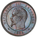 France: Napoleon III 10 Centimes 1854-A MS65 Brown PCGS