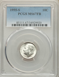 1955-S 10C MS67 Full Bands PCGS. PCGS Population: (12/0). NGC Census: (22/0). CDN: $1,050 Whsle. Bid for NGC/PCGS MS67...