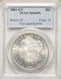 1881-CC $1 MS64 Prooflike PCGS. PCGS Population: (439/198). NGC Census: (234/67). CDN: $600 Whsle. Bid for problem-free...