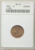 Patterns, 1859 P1C Indian Cent, Judd-228, Pollock-272, R.1, MS64 ANACS. ...