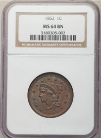 1852 1C N-14, R.1, MS64 Brown NGC. NGC Census: (4/1). PCGS Population: (2/2). MS64. Mintage 5,063,094. ...(PCGS# 147263)