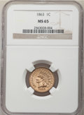 1863 1C MS65 NGC. NGC Census: (226/24). PCGS Population: (318/68). MS65. Mintage 49,840,000. ...(PCGS# 2067)