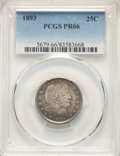 Proof Barber Quarters: , 1893 25C PR66 PCGS. PCGS Population: (33/21). NGC Census: (51/25). CDN: $1,300 Whsle. Bid for NGC/PCGS PR66. Mintage 792. ...