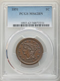 1851 1C MS62 Brown PCGS. PCGS Population: (95/459). NGC Census: (116/427). CDN: $210 Whsle. Bid for NGC/PCGS MS62. Minta...