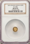 1876 25C Indian Round 25 Cents, BG-880, Low R.6, MS64 Prooflike NGC. NGC Census: (0/0). PCGS Population: (0/0). ...(PCGS...