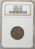 Two Cent Pieces, 1864 2C Large Motto MS65 Red and Brown NGC. NGC Census: (584/100). PCGS Population: (441/40). CDN: $400 Whsle. Bid for NGC/...