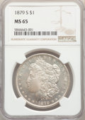 1879-S $1 MS65 NGC. NGC Census: (23700/9605). PCGS Population: (26621/9686). CDN: $100 Whsle. Bid for NGC/PCGS MS65. Min...