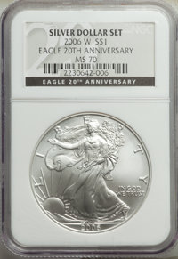 Three-Piece 20th Anniversary Silver Eagle Set NGC. This Set Includes: 2006-W MS70 NGC; 2006-P Reverse Proof PR70 NGC; a...