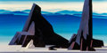 Paintings, Eyvind Earle (American, 1916-2000). Desert Scene, 1973. Oil on board. 24-1/2 x 48-1/4 inches (62.2 x 122.6 cm). Signed a...