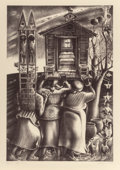 Prints & Multiples, John Biggers (American, 1924-2001). Upper Room, 1984. Lithograph on paper. 38 x 26 inches (96.5 x 66 cm). Ed. 7/50. Sign...