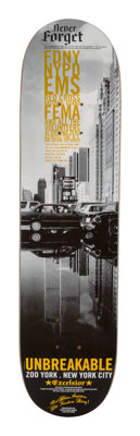 Horst Hamann X Zoo York Unbreakable, 2001 Screenprint in colors on skate deck 32 x 8 inches (81.3