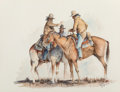 Works on Paper, Curtis Wingate (American, b. 1926). Indian Horsemen. Watercolor on paper. 15-1/4 x 19-1/2 inches (38.7 x 49.5 cm) (sight...