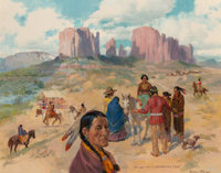Frederic Mizen (American, 1888-1964) Navajo Indians Assemble for a Sing Oil on canvasboard 22 x 2