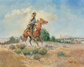 Paintings, Curtis Wingate (American, b. 1926). Rider Beholds Indians on Hillside, 1966. Oil on canvas. 24 x 30 inches (61.0 x 76.2 ...
