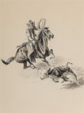 Works on Paper, George Phippen (American, 1915-1966). Caught, 1947. Ink and ink wash on paper. 12-3/4 x 9-1/2 inches (32.4 x 24.1 cm). S...