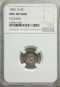Seated Half Dimes: , 1860 H10C -- Cleaned -- NGC Details. Unc. Mintage 799,000. ...