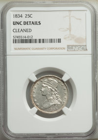 1834 25C -- Cleaned -- NGC Details. Unc. Mintage 286,000. ...(PCGS# 5353)