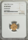 Gold Dollars, 1854 G$1 Type Two -- Damaged -- NGC Details. XF. Mintage 783,943. ...