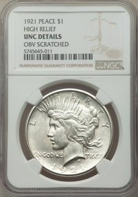 1921 $1 High Relief -- Obverse Scratched -- NGC Details. Unc. Mintage 1,006,473....(PCGS# 7356)