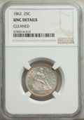 Seated Quarters: , 1862 25C -- Cleaned -- NGC Details. Unc. Mintage 932,000. ...