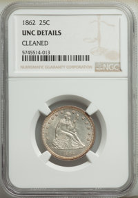 1862 25C -- Cleaned -- NGC Details. Unc. Mintage 932,000. ...(PCGS# 5456)