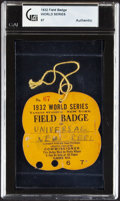 Baseball Collectibles:Others, 1932 World Series Field Badge. ...