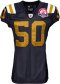 Football Collectibles:Uniforms, 2009 Vernon Gholston Game Worn & Unwashed AFL 50 Throwback New York Jets Jersey - Used 9/27 vs. Titans. ...