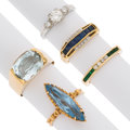 Estate Jewelry:Rings, Multi-Stone, Diamond, Synthetic Spinel, Platinum, Gold Rings. ... (Total: 5 Items)