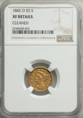 Liberty Quarter Eagles: , 1842-O $2 1/2 -- Cleaned -- NGC Details. XF. Mintage 19,800. ...