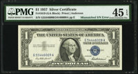 Mismatched Serial Numbers Error Fr. 1619 $1 1957 Silver Certificate. PMG Choice Extremely Fine 45 EPQ