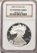 Modern Bullion Coins, 2005-W $1 Silver Eagle PR70 Ultra Cameo NGC. NGC Census: (14248). PCGS Population: (4418). ...