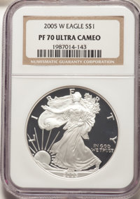2005-W $1 Silver Eagle PR70 Ultra Cameo NGC. NGC Census: (14248). PCGS Population: (4418). ...(PCGS# 99975)
