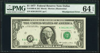 Shifted Black Portion of Third Printing Error Fr. 1909-K $1 1977 Federal Reserve Note. PMG Choice Uncirculated 64 EPQ...